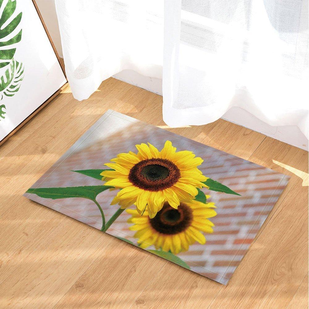 Summer Plant Bath Rugs By GoHeBe Sunflower Bloom Brick Wall Background Non-Slip Doormat Floor Entryways Indoor Front Door Mat Kids Bath Mat 15.7x23.6in Bathroom Accessories
