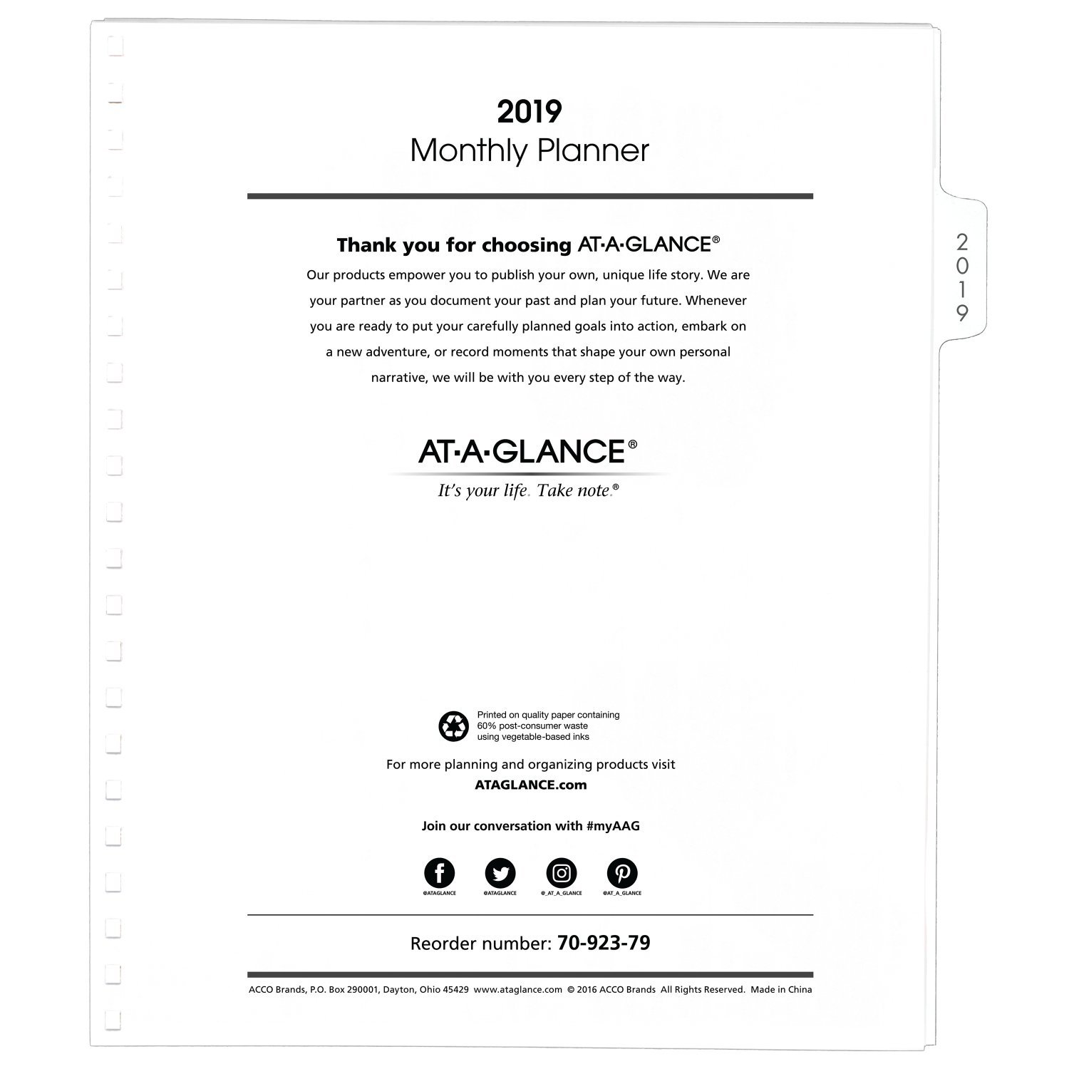 AT-A-GLANCE 2019 Monthly Planner Refill, January 2019 - December 2019, 9'' x 11'', White (7092379)