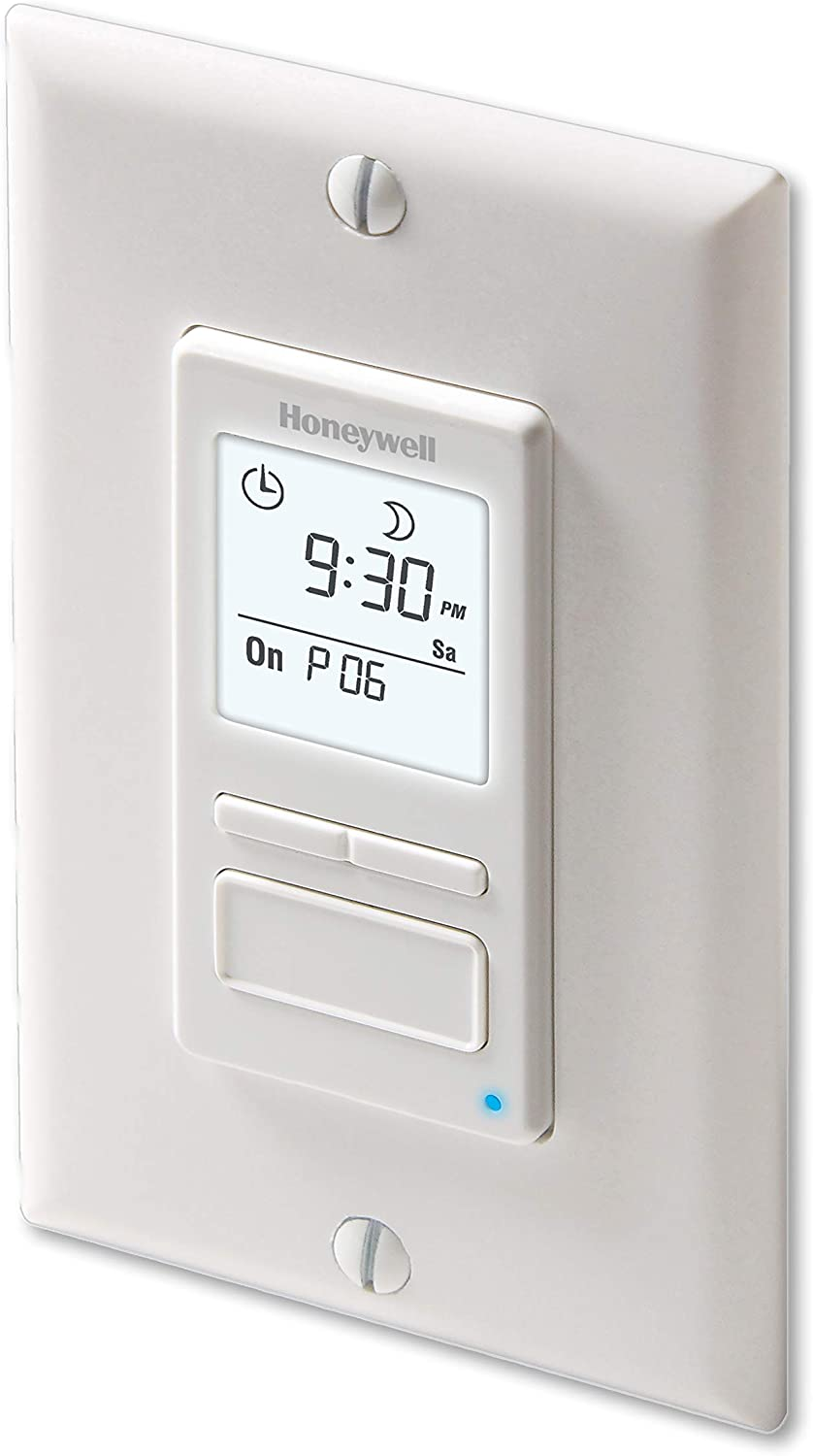 Honeywell Home RPLS740B1008 Econoswitch 7-Day Programmable Light Switch Timer, White - Wall Light Switches -