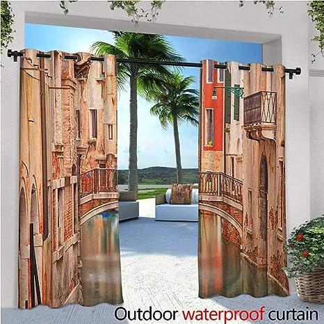 familytaste Venice - Cortinas de balcón, diseño de Paisaje con el Puente de los Muslos en Venecia, Escena romántica, Resistente al Agua, con Arandelas: Amazon.es: Jardín