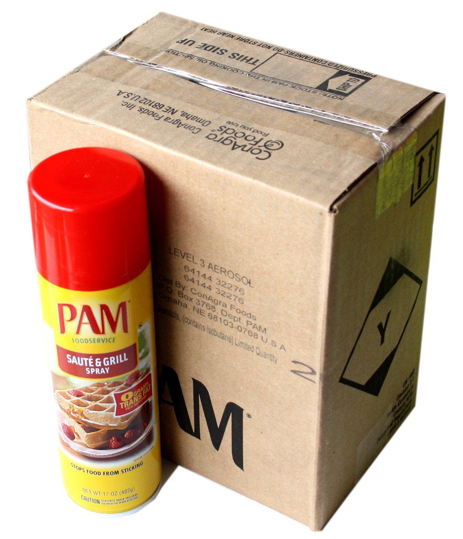Pam Saute & Grill Spray 17 Oz (6 Pack)