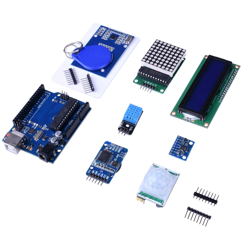 Quimat Kit de Arduino Más Completo y Avanzado con Tutorial, Placa UNOR3, Placa de Expansión, LCD1602, HC-SR501, Sensor Ultrasónico HC-SR04 con Soporte (69 ...