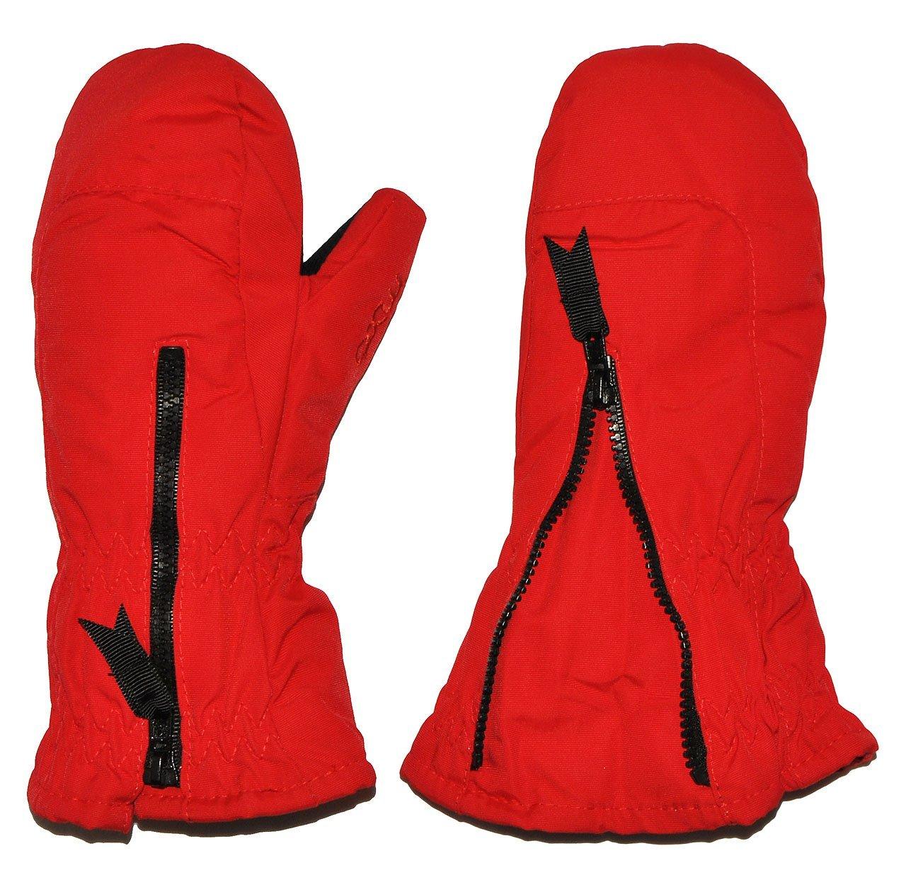 Unbekannt Fausthandschuhe - rot - mit langem Schaft - Größe: 1 bis 2 Jahre - Reißverschluß - leicht anzuziehen - Thermo gefüttert Thermohandschuh - Fausthandschuh H.. Kinder-Land