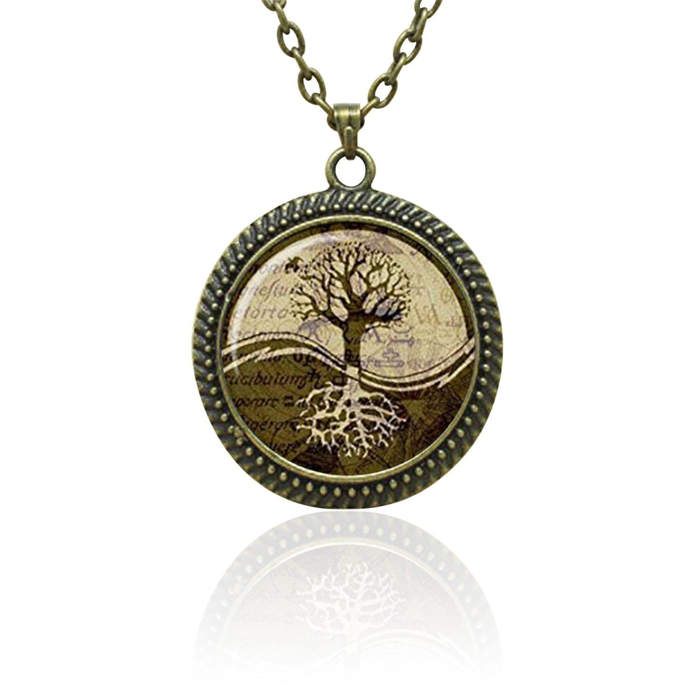 SunShine Day Fashion Necklace Ying Yang Symbols Pendant Ying Yang Necklace Ying Yang Sign Jewelry Magic Sign Glass Cabochon Necklace A2160