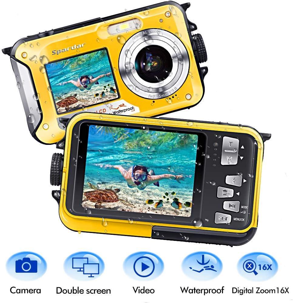 Waterproof Camera Underwater Camera Full HD 1080P 24.0 MP Video Recorder Selfie Dual Screens 16X Digital Zoom Waterproof Digital Camera for Snorkeling