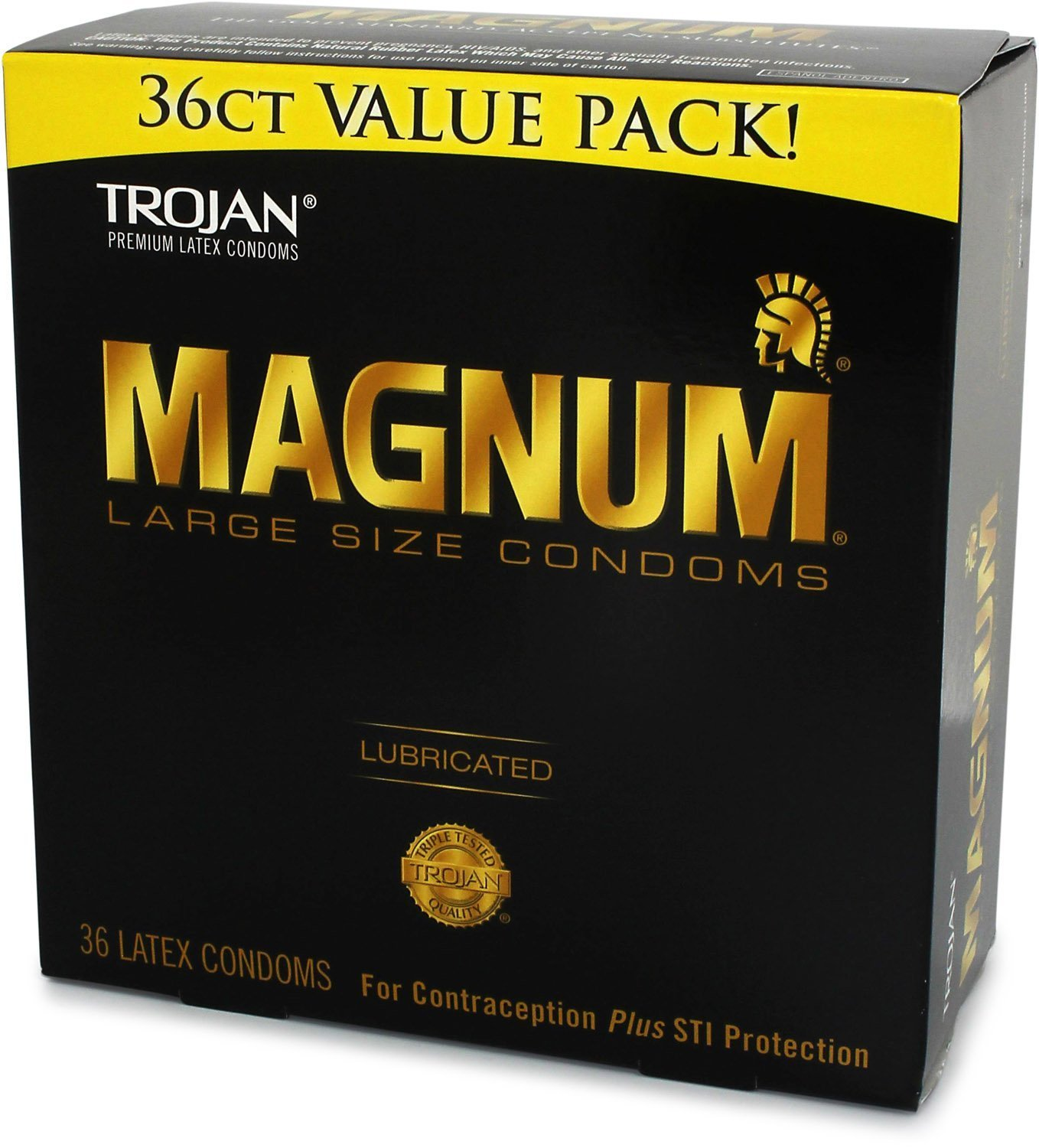 TROJAN Magnum Lubricated Latex Condoms, Large Size 36 ea. (Pack of 3) by Trojan