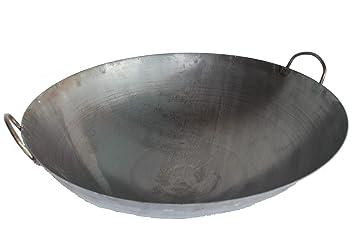Gastronomie 32 cm Durchmesser Flacher Boden f/ür Gas Wokpfanne AAF Nommel /® Wok ca