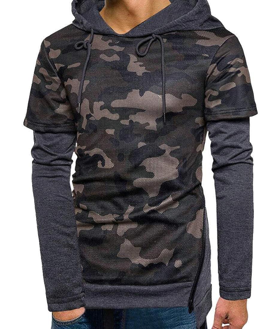 Hurrg Mens Camo Print Drawstring Stylish Hoodie Pullover Sweatshirt