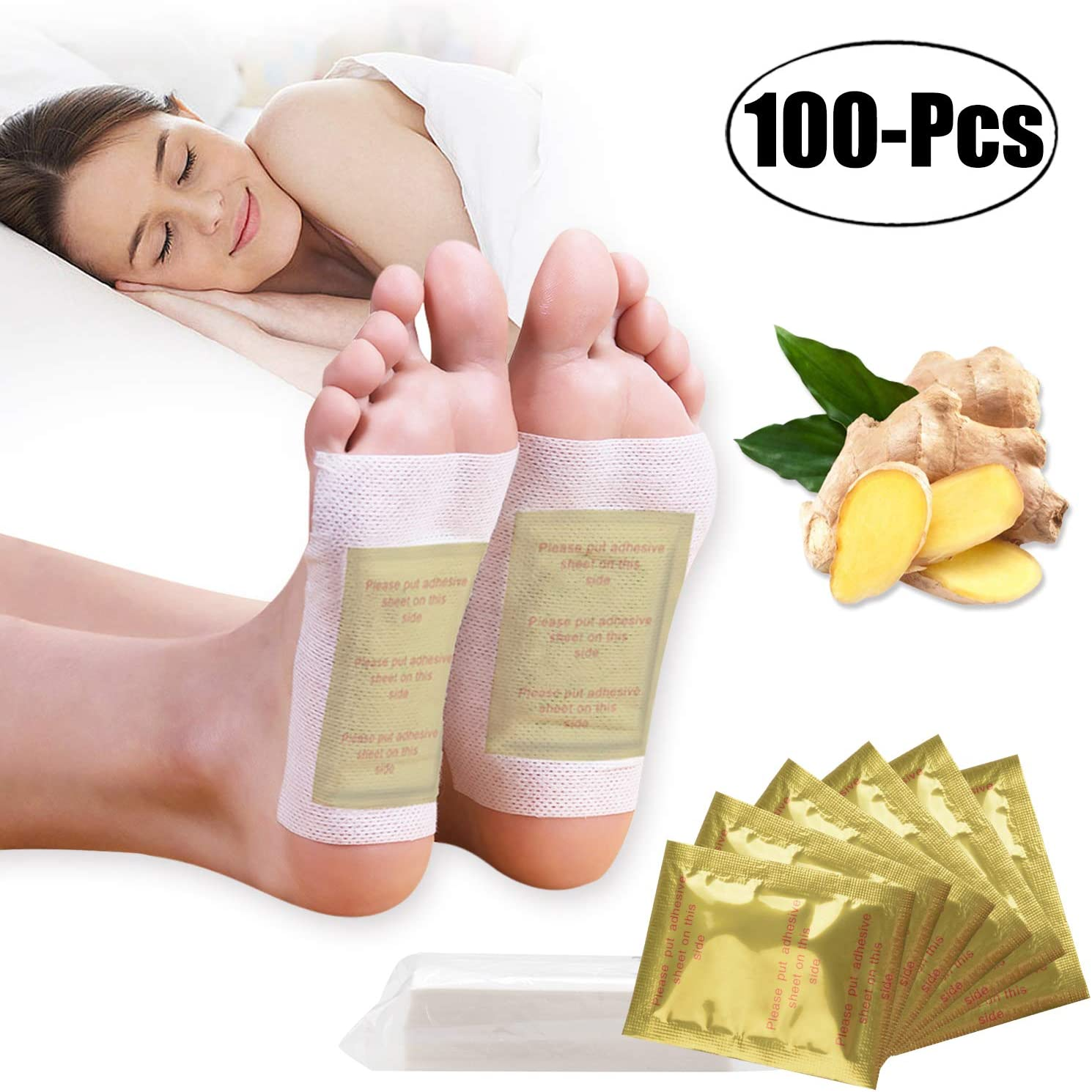 FunPa Foot Pads - (100Pads) Ginger Foot Patch for Better Sleep and Anti-Stress Relief, Pure Natural Bamboo Vinegar and Ginger Premium Ingredients Combination for Foot and Body Cleansing. (100pcs)