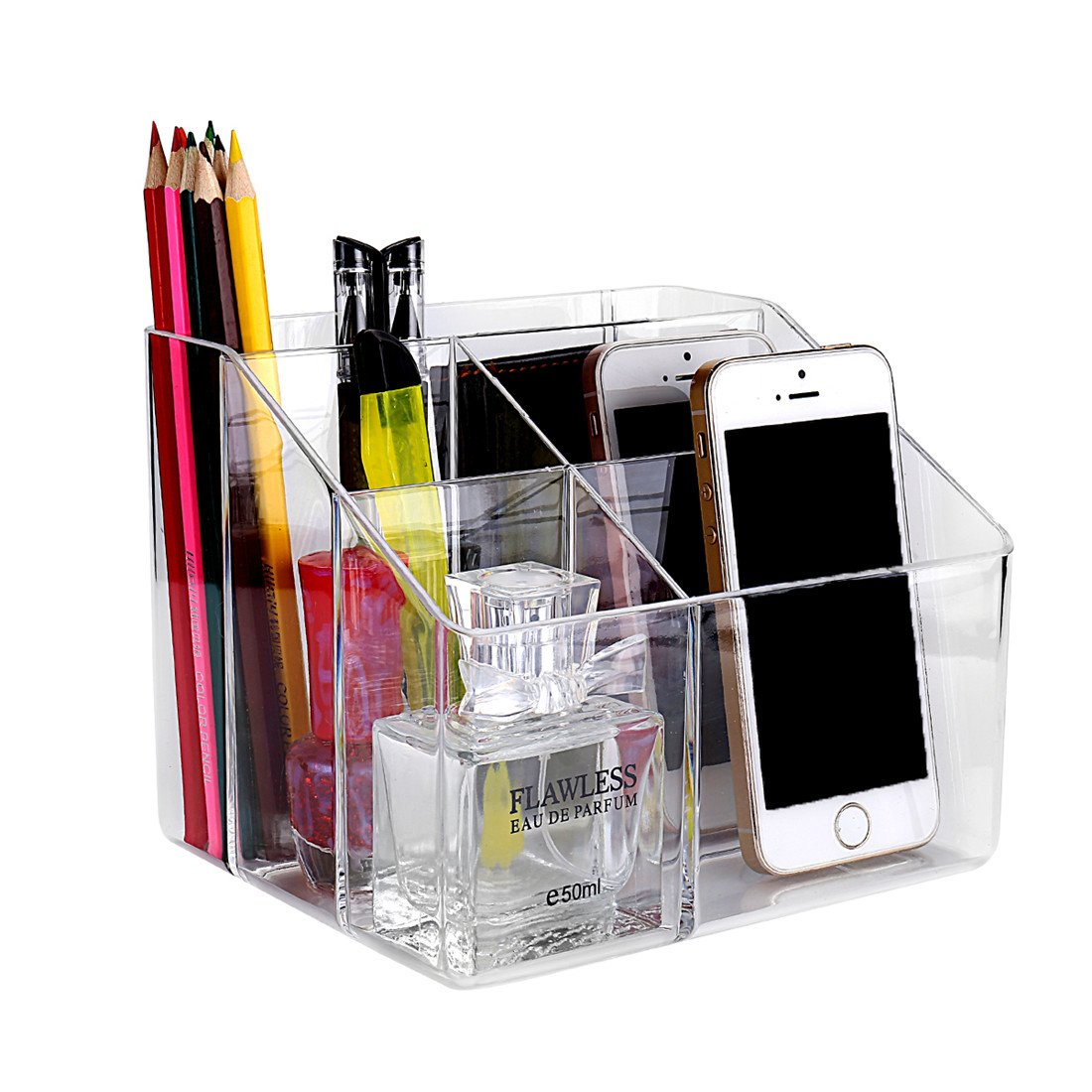 Remote Control Caddy Organizer by Sky Piea, Clear Acrylic Desktop Media Storage Holder, 5 Slots