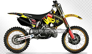 2018 suzuki rm125. contemporary rm125 kungfu graphics rockstar custom decal kit for suzuki rm125 rm250 1999 2000  black yellow on 2018 suzuki rm125