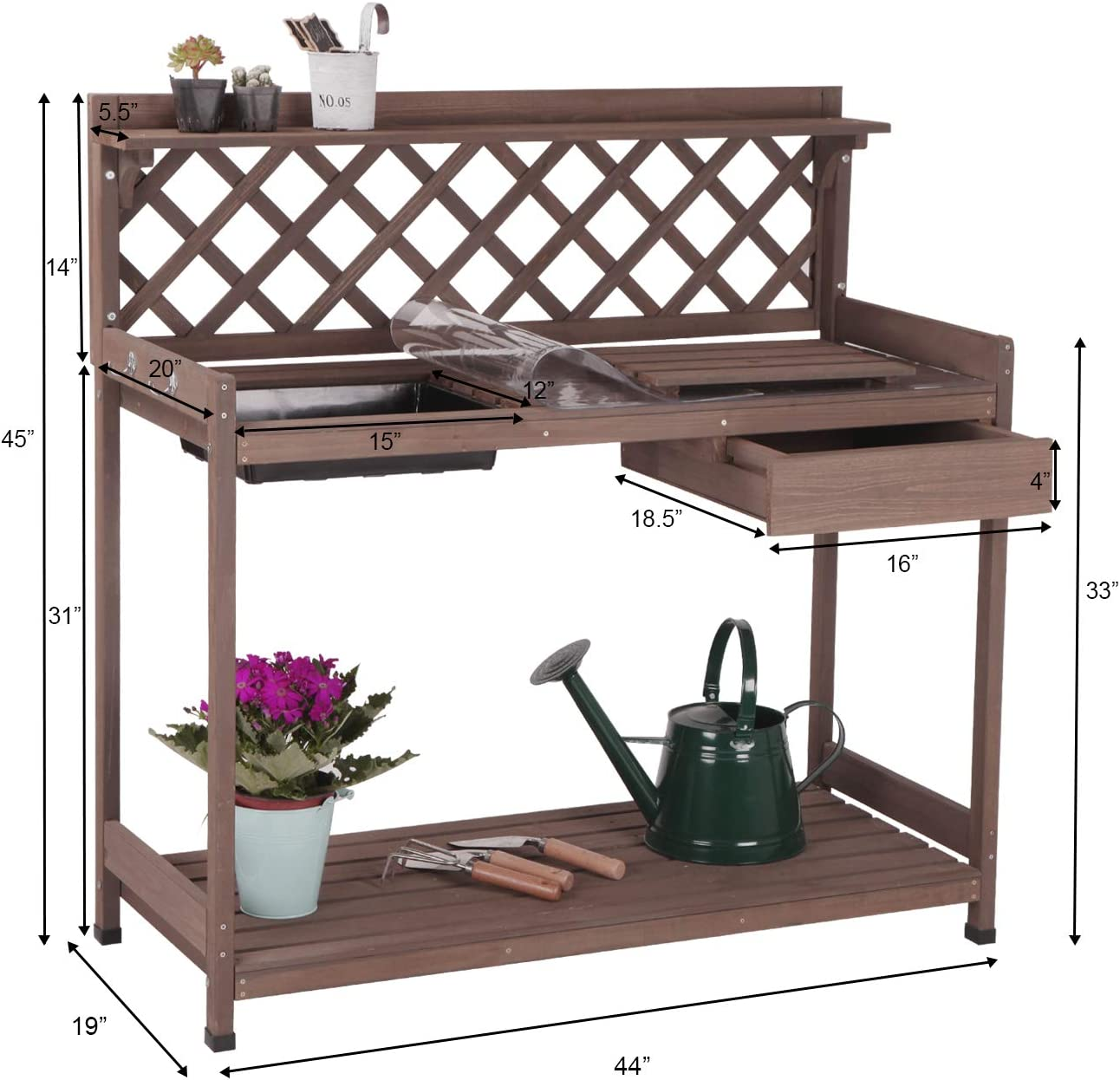 Lakewood 3 Person Swing, Amazon Com Aivituvin Potting Bench With Pvc Layer Outdoor Gardening Work Bench With Sink Lid Wooden Planting Table For Outside With Storage Drawer Shelf Hook Garden Outdoor
