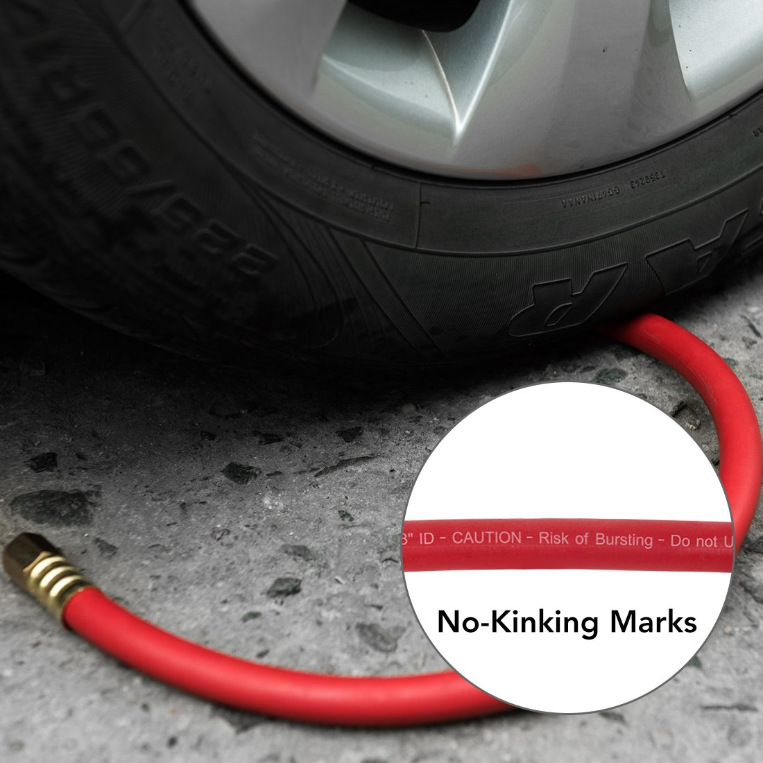 Non-Kinking Rubber Lead-In Air Hose 3/8inch x 3FT 300PSI With 1/4inch Solid Brass Swivel Fittings Red by Maxaline (Image #7)