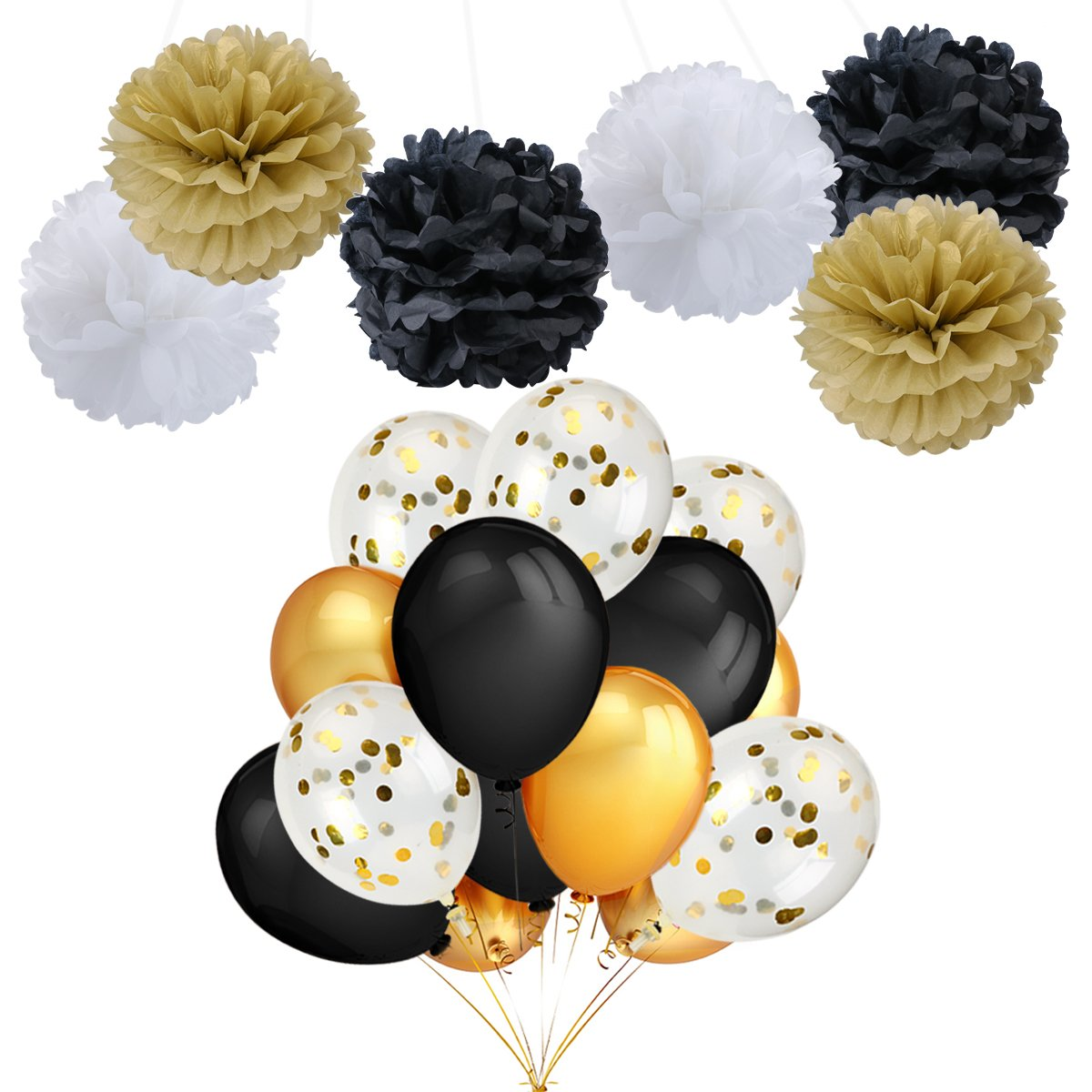 LeeSky Party Balloons Decorations,12 Pack 12 Inch Gold Confetti Balloons,40 Pack Gold & Black Color Party Balloons and Tissue Paper Pom Poms Flowers -Wedding Birthday Halloween Party Supplies