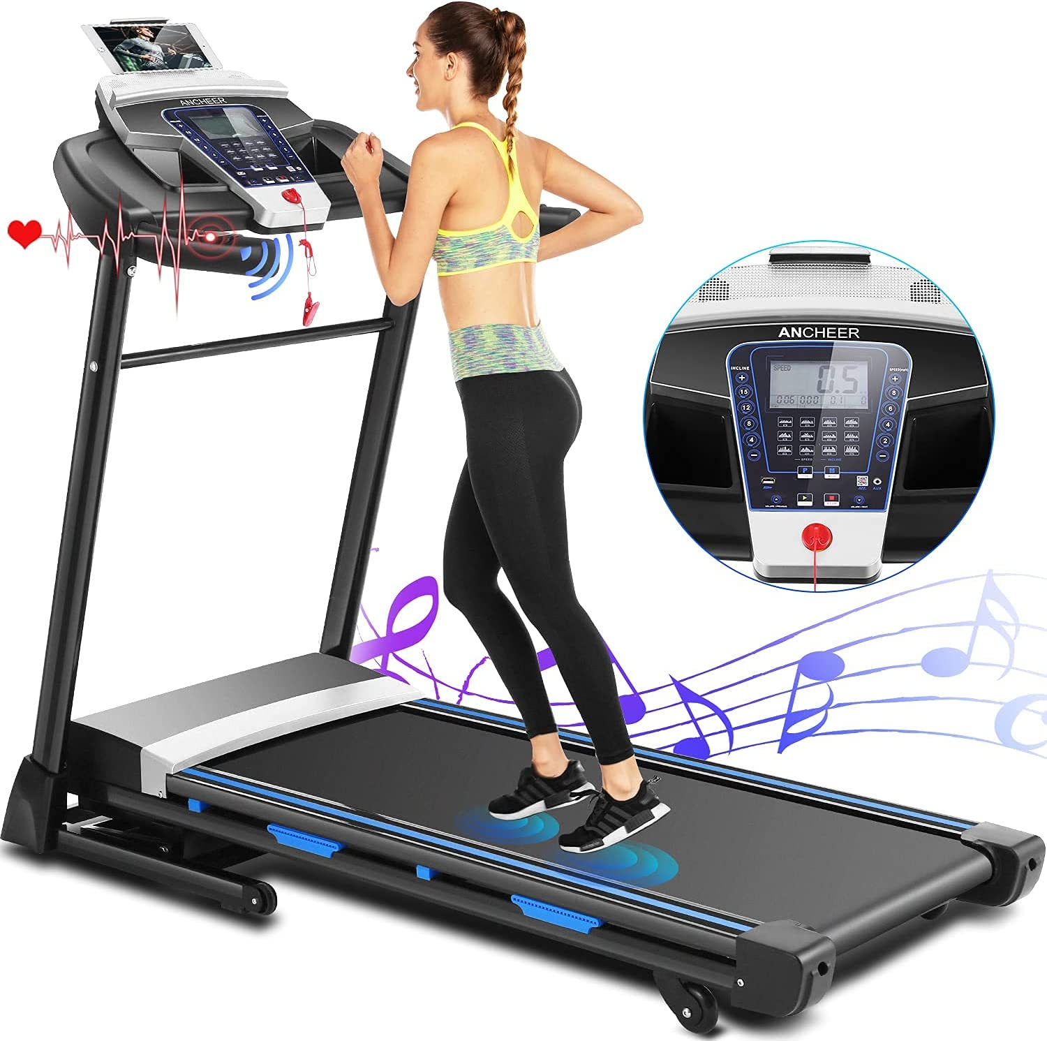 ANCHEER Treadmill,Treadmills for Home with Automatic Incline,3.25HP APP Control Folding Treadmills Exercise Machines,Running&Walking Electric fold Treadmill for Gym&Office Workout Cardio Use