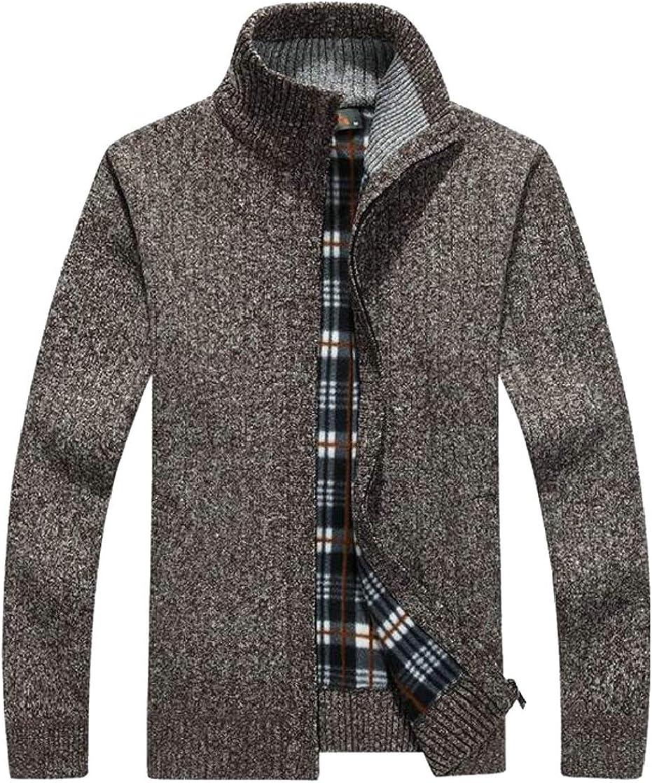 Etecredpow Mens Warm Knitwear Zipper Front Stand Collar Outwear Cardigan Sweater Coat