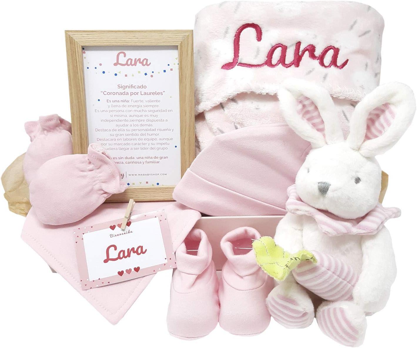 MabyBox Happy Animals | Canastilla Bebé | Set regalo recién nacido| Cesta de bebe Para regalo | Regalo Personalizado Bebe (Rosa)