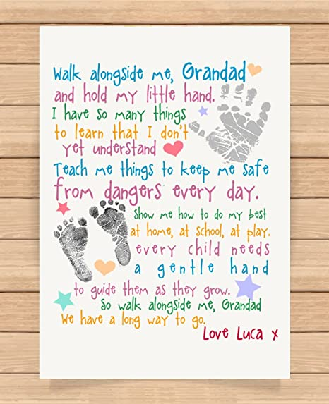 711cfd65c26e Personalised Presents Gifts For Grandad Grandpa Nanna Birthday Fathers Day  Christmas Xmas Walk Alongside Me Poem