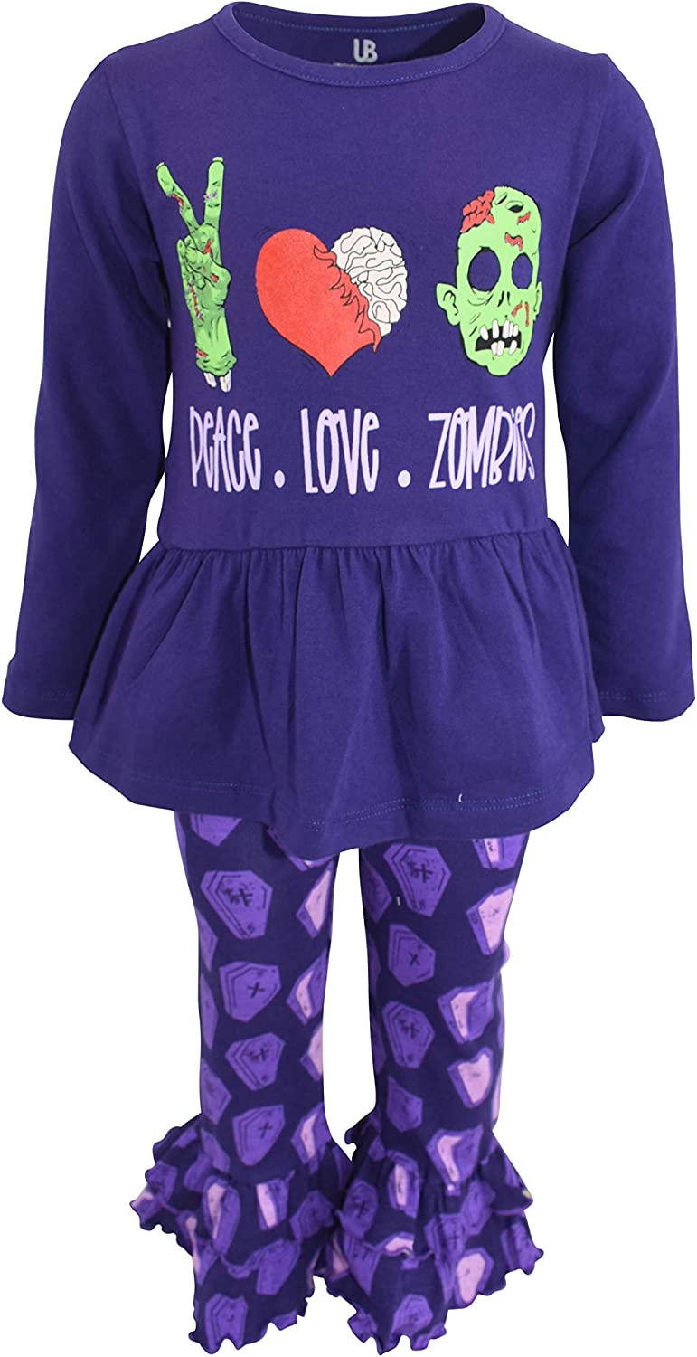 Unique Baby Girls Peace Love Zombies 2pc Ruffle Halloween Outfit