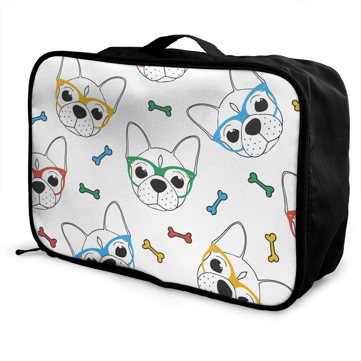 Travel Lightweight Waterproof Foldable Storage Carry Luggage Duffle Tote Bag JTRVW Luggage Bags for Travel English Bulldog Glasses