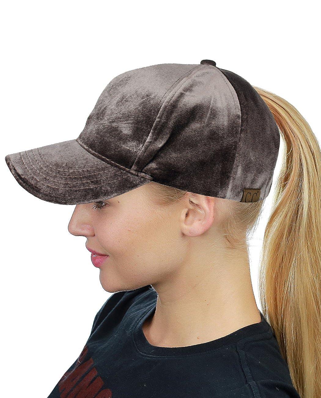 b26915354b6 C.C Ponycap Messy High Bun Ponytail Soft Velvet Adjustable Baseball Cap Hat