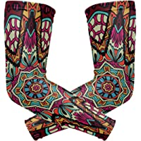 MASSIKOA Geometric Fashion Tribal Ethnic Floral UV Protection Cooling Arm Sleeves Sports Running Golf Cycling Basketball Driving Fishing Long Arm Cover Sleeves