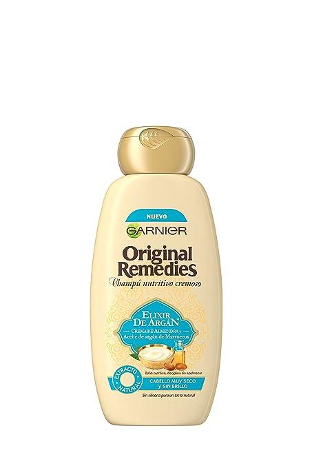 Garnier Original Remedies Elixir de Argán Champú nutritivo cremoso sin silicona para un pelo muy seco y sin brillo 300 ml