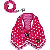 wowowo Small Dog Leash and Harness Set Stylish Lace Polka Dot Pink Puppy Cats Vest Harness