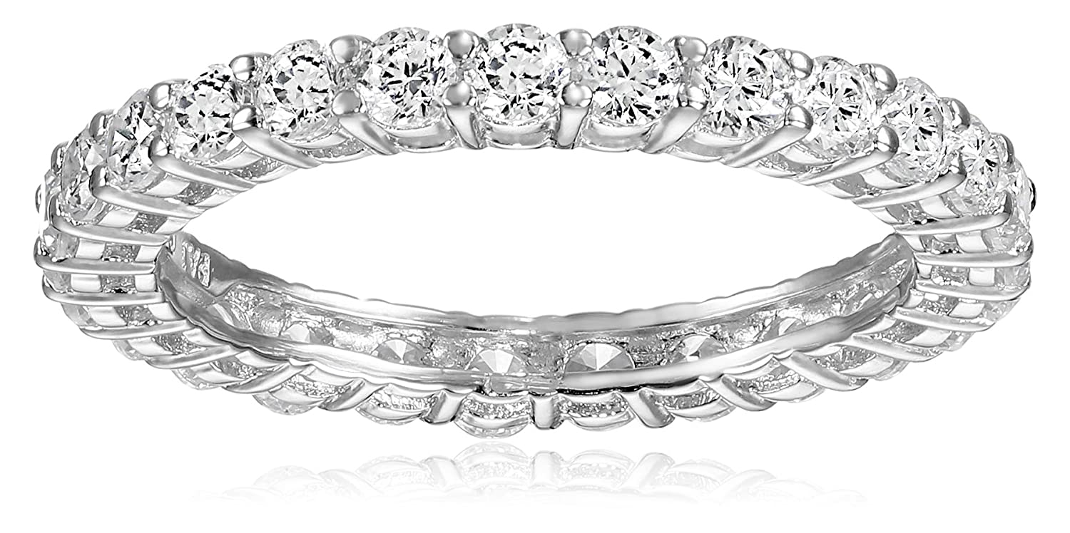 Amazon platinum plated sterling silver round cubic zirconia all amazon platinum plated sterling silver round cubic zirconia all around infinity band ring jewelry geenschuldenfo Images