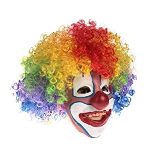 Clown Mask with Rainbow Clown Wig Scary Clown Mask for Kids Halloween Costume