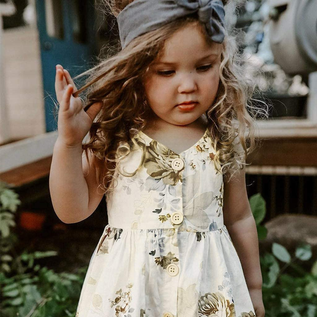 Wenini Toddler Baby Girl Dress Clothes Kids Girl Summer Sleeveless Floral Princess Dress Outfits Black