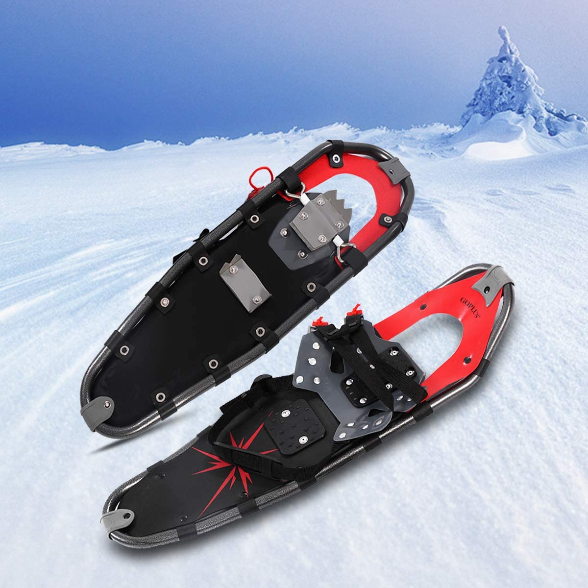 Red Goplus Snowshoes All Terrain Sports 27 with Anti-Shock Adjustable Poles /& Carrying Bag for Adults Snow Shoes