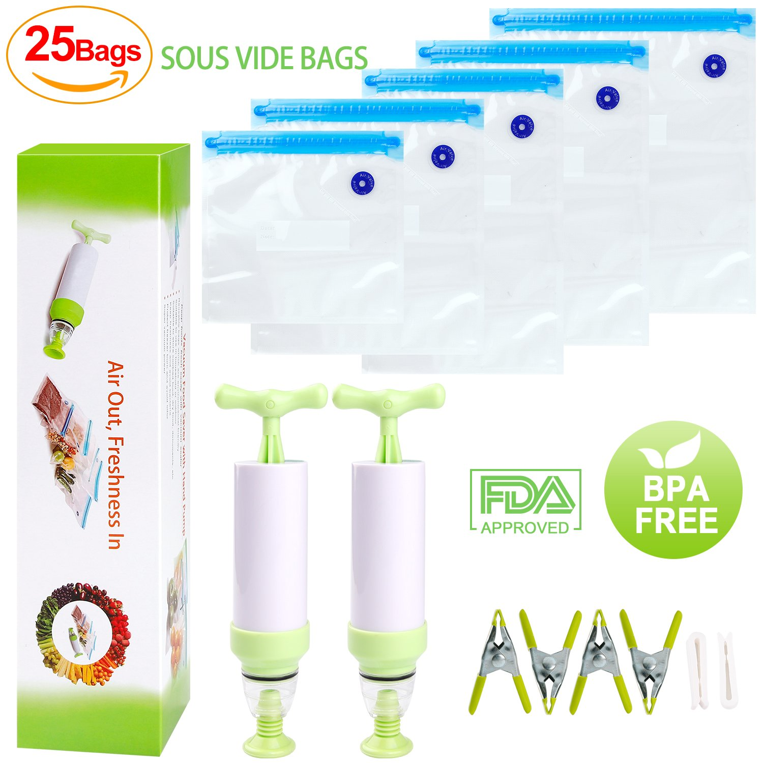 Sous Vide Bags Kit For Anova Cookers-25 Reuseble Food Vacuum Sealed Bags, Sous Vide Cooker Practical for Food Storage and Cooking, 2 Hand Pump, 2 Bag Sealing Clips and 4 Sous Vide Clips, Easy to Use