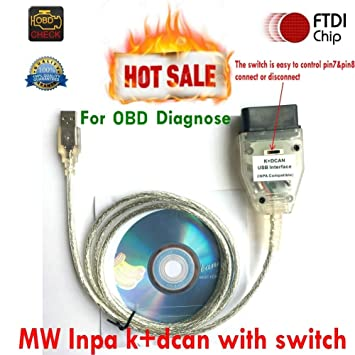 Cable Ediabas Inpa, interfaz K+DCAN, con interruptor OBD2, interfaz para diagnóstico BMW, HR-Tool®: Amazon.es: Coche y moto