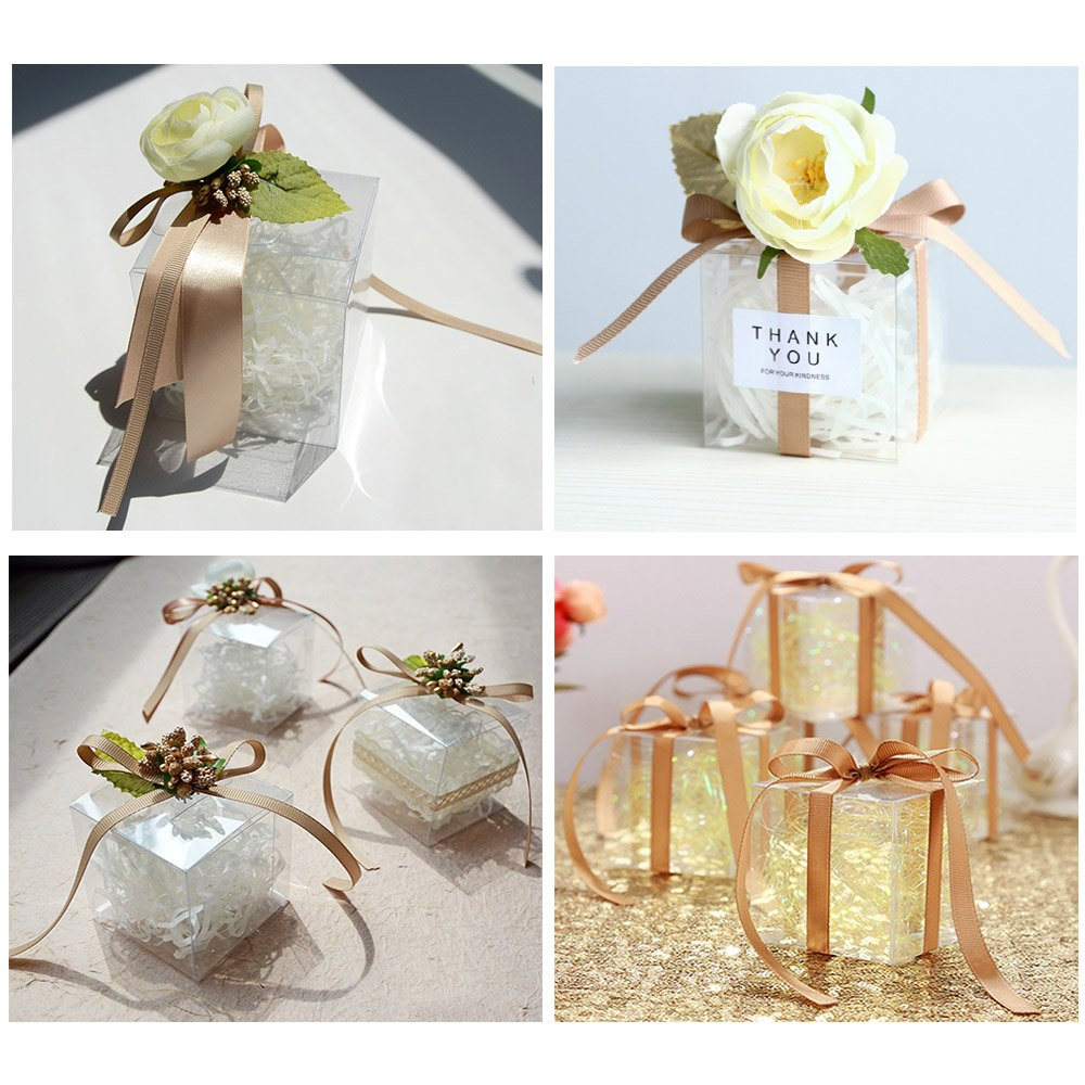 LNKEY 50 PCS Clear Favor Boxes 3x3x3 Inch for Cupcake Wedding Party ...