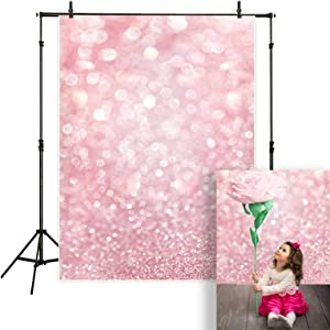 Funnytree 5X7FT Blush Pink Bokeh Photography Backdrop Blurred White and Orange Scale (Not Glitter) Still Life Background for Professional Photo Booth Studio Decorations Props Picture