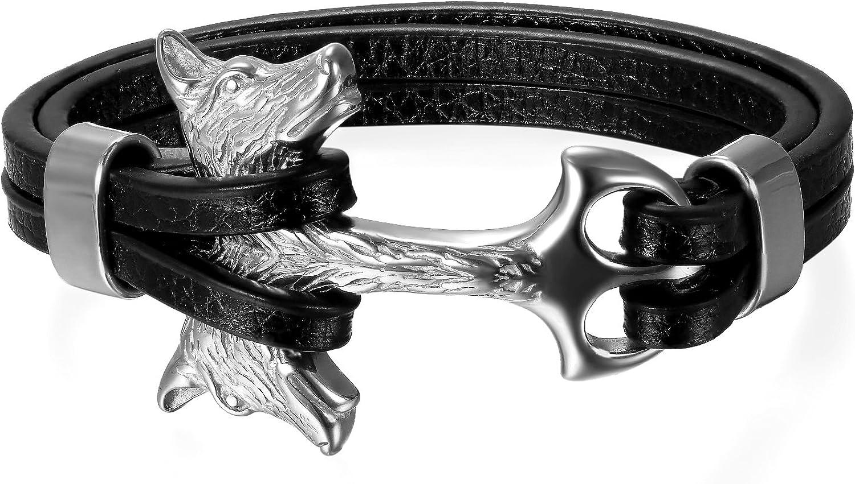 Flongo Homme Bracelet Multi-Rangs Classique T/ête de Loup Cuir Acier Inoxydable Lien Poignet Argent Noir Or pour Homme Gar/çon Fantaisie Bijoux