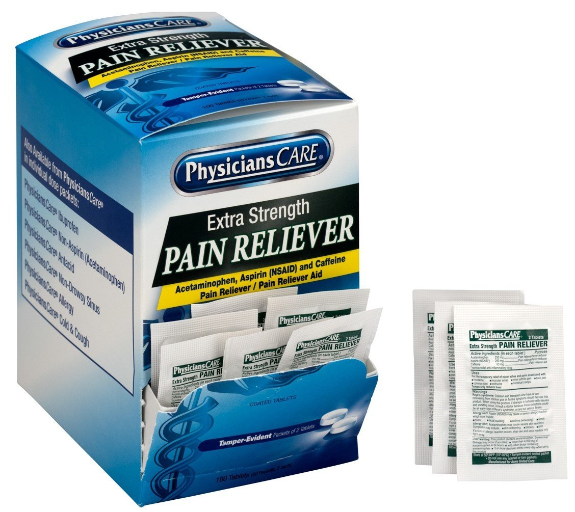 PhysiciansCare by First Aid Only Extra Strength Pain Reliever (Compare to Excedrin), 50 Count