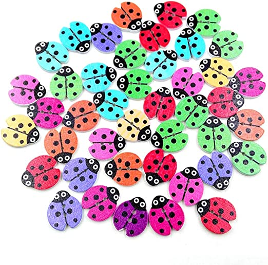 100x Wooden Buttons Colorful Cute Shape Sewing//Scrapbooking//Crafts