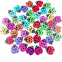Amosfun 100Pcs Wooden Buttons 2 Holes Ladybug Button Scrapbooking Sewing Buttons for DIY Craft - 20x30mm