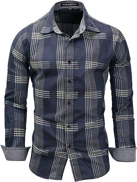 Shenhai Camisa para Hombres Camisa a Cuadros de Manga Larga de Mezclilla para Hombre, de Gran tamaño, Azul Denim, XXXL: Amazon.es: Hogar