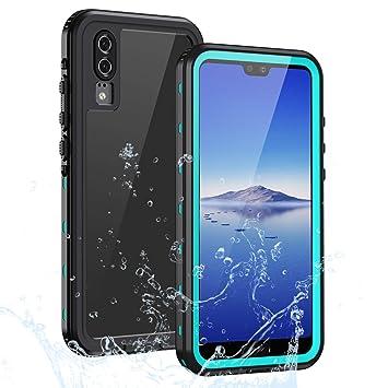 Lanhiem Funda Impermeable Huawei P20, Carcasa Resistente Al Agua IP68 Certificado [Protección de 360 Grados], Carcasa para Huawei P20 con Protector de ...