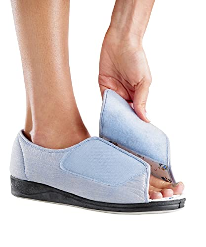 Beautiful Womens Open Toed Sandal Shoes With Adjustable Fasteners   Wide Width    Denim 6