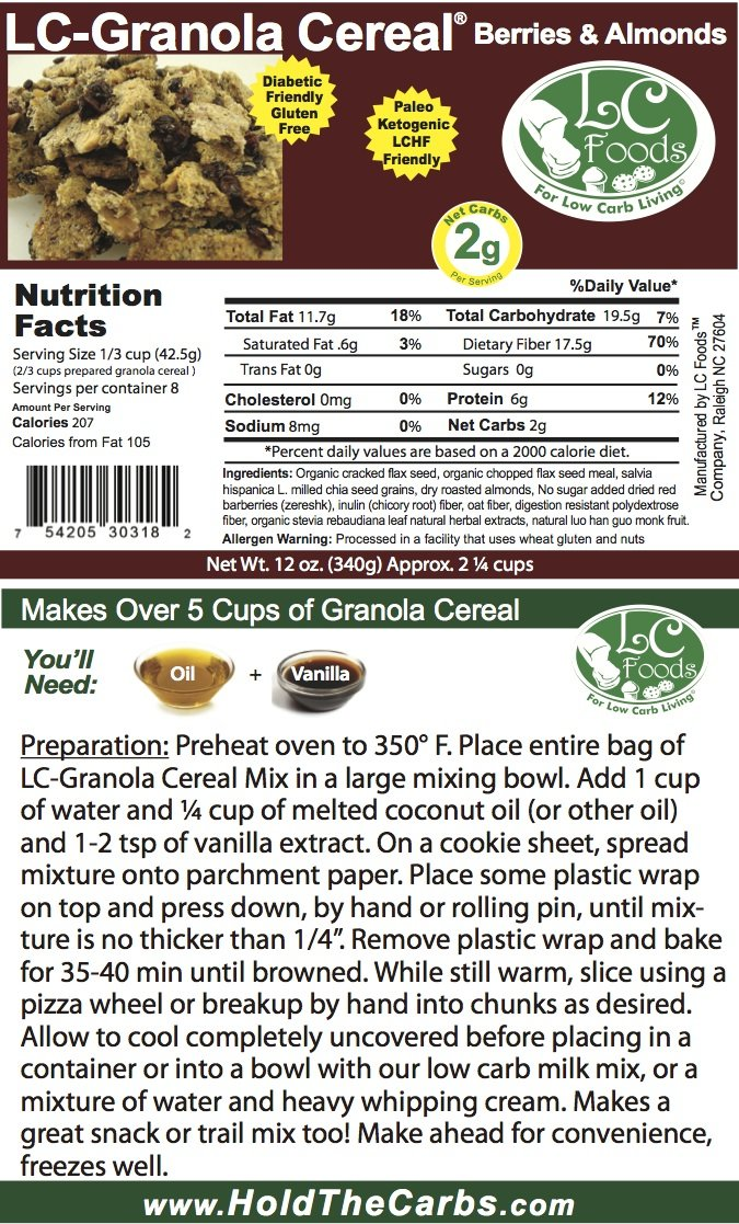 Low Carb Granola Cereal Mix - Berry & Almond - LC Foods - All Natural - Paleo - Gluten Free - No Sugar Added - Diabetic Friendly - 12 oz