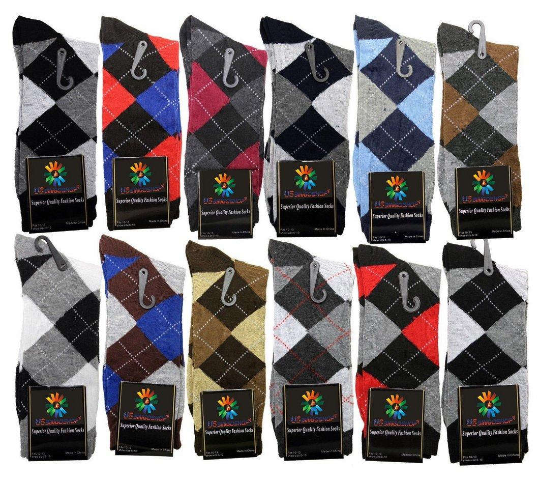 USBingoshopTM Mens Cotton Dress Socks (10-13, Argyle) by USBingoshop