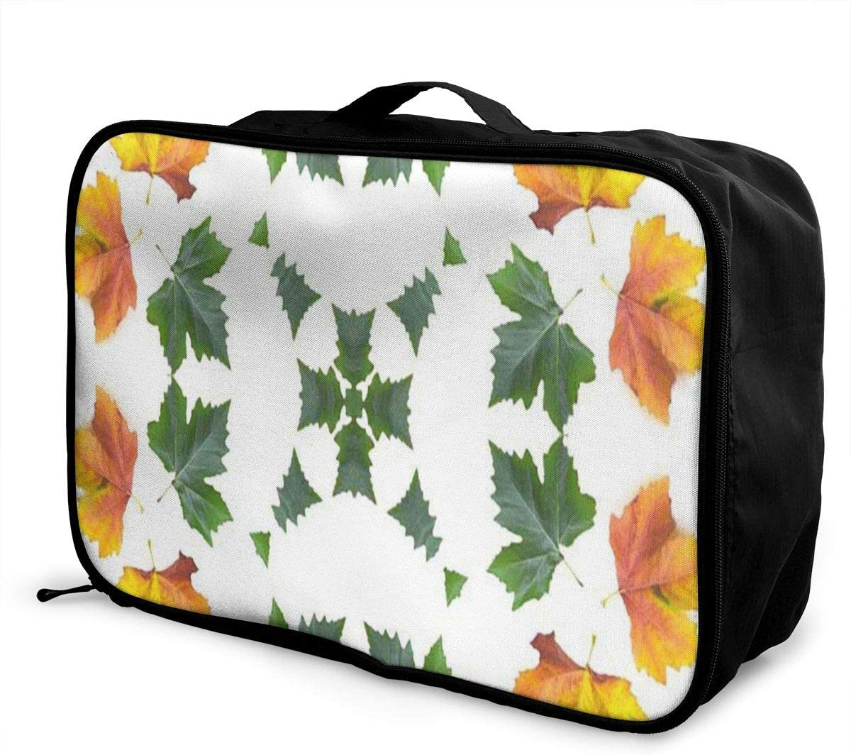 Travel Bags Autumn Orange Maple Leaf Mandala Portable Tote Trolley Handle Luggage Bag