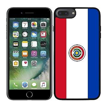 Funda carcasa para iPhone 7 Plus diseño Bandera Paraguay borde negro