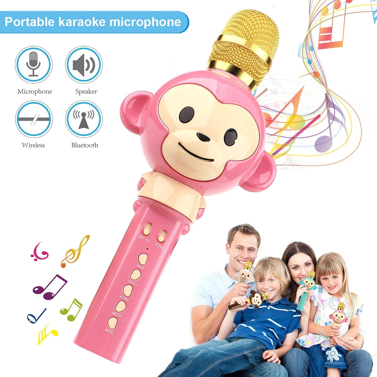 LingHui Kids Microphone Wireless Bluetooth Karaoke Microphone , 3-in-1 Portable Handheld Karaoke Mic Home Party Birthday Speaker Machine for iPhone/Android/iPad/Sony,PC and All Smartphone (Pink) by LingHui (Image #1)
