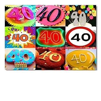 DigitalOase Glückwunschkarte 40. Geburtstag Jubiläumskarte 40