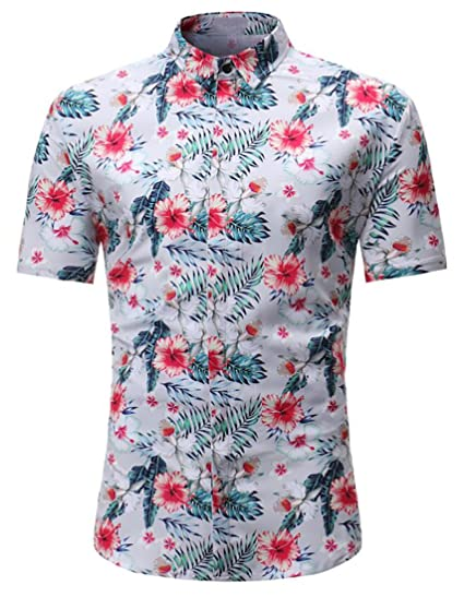 0d057a57433d Yaolor-Men Casual Floral Button Down Short Sleeve Hawaiian Tropical Shirt  Tops Light Grey US